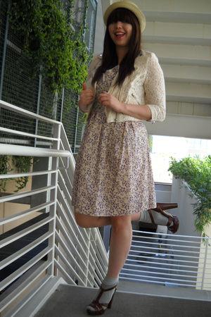 charity shop hat - H&M jacket - See by Chloe dress - socks - BCBG shoes