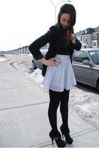 H&M skirt - Guess blazer - Joe Fresh tights - Zara top - Rachel Zoe heels