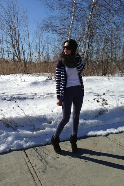 Forever21 cardigan - JBrand jeans - American Apparel scarf