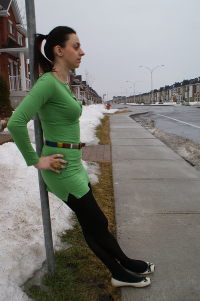 American Apparel dress - Joe Fresh tights - Steve Madden flats - BCBG belt