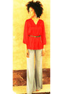 Bell-bottoms-vintage-jeans-bar-iii-blouse-h-m-belt
