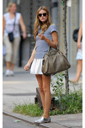 blue top - silver shoes - heather gray bag - white skirt