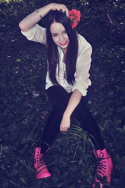 hot pink doc martens boots - hot pink velvet Kmart leggings - white supre shirt