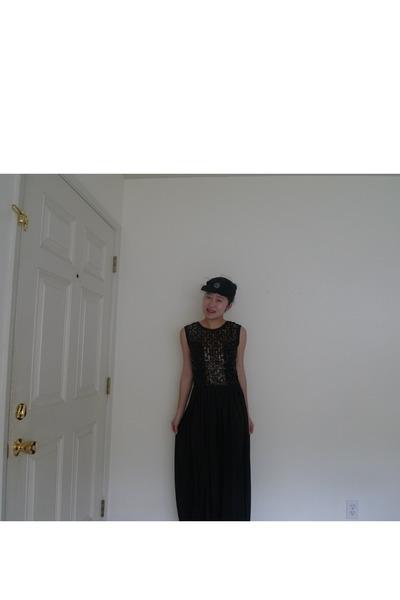 black Maison Michel hat - red YSL shoes - black Vintage Jumpsuit