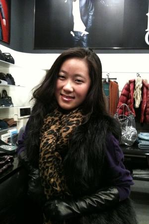 ponoland gloves - Zara vest - Louis Vuitton scarf - BCBGgirls sweater