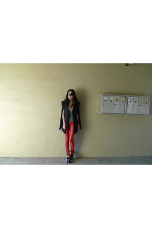black Pixie Market blazer - red cheetah couture leggings - black christian dior