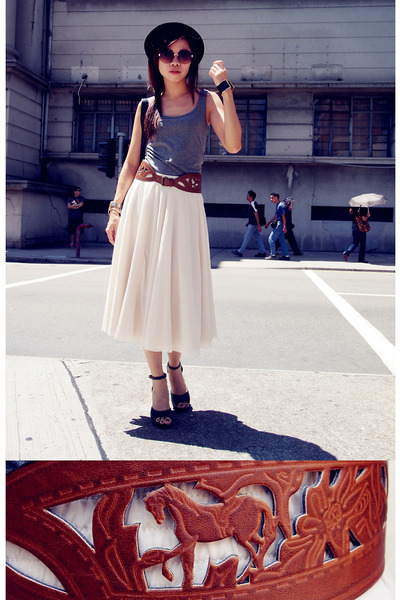 brown H&M belt - charcoal gray dress - black H&M hat - aquamarine H&M sandals