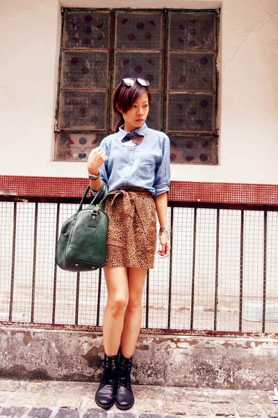 H&M boots - H&M shirt - Zara bag - H&M skirt