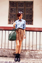 H&M boots - H&M shirt - Zara bag - H&M skirt