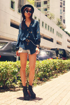 navy vintage shirt - black Jeffrey Campbell shoes - dark green H&M hat