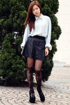 American Apparel shirt - Jeffrey Campbell shoes - asos tights - Bershka skirt