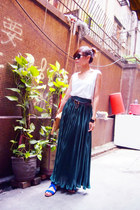 green American Apparel skirt - nude bag - blue sandals - white Monki vest