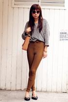 flats - American Apparel sweater - VANCL bag - American Apparel pants