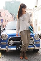 sky blue asos bag - tawny Zara boots - camel American Apparel pants