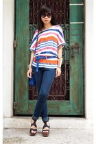 blue asos bag - black Topshop clogs - blue Zara belt - carrot orange Zara blouse