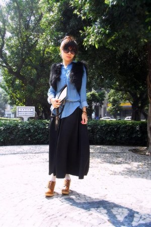 H&amp;M shirt - Celine bag - Topshop sunglasses - used as belt roberto cavalli tie -