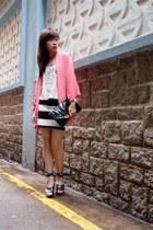 bubble gum Zara blazer - ivory H&M skirt - black H&M vest - gray vivienne westwo