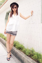 black H&M hat - H&M shorts - white cotton on blouse - H&M sandals