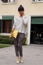 beige H&M boots - yellow American Apparel bag - magenta vintage pants - silver H