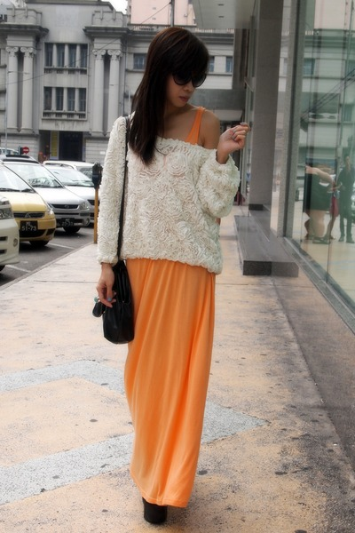 black Jeffrey Campbell shoes - orange H&M dress - white American Apparel blouse