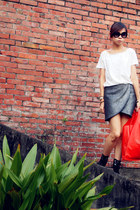 silver Zara skirt - red H&M bag - white H&M top - Monki necklace
