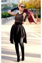 Carven skirt - Sergio Rossi boots - Sonia Rykiel top