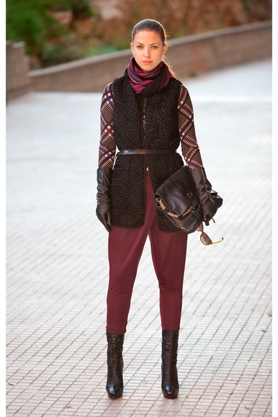 black Anya Hindmarch bag - Etro scarf - maroon By Malene Birger pants