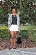 black leather Zara bag - animal print H&M blazer