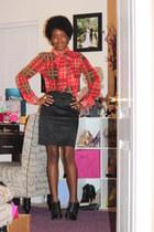 sheer asos top - satin H&M skirt