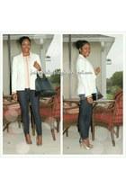 gray blouse - white textured forever blazer
