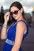 blue MACHIMA dress - black H&M sunglasses - aquamarine H&M ring