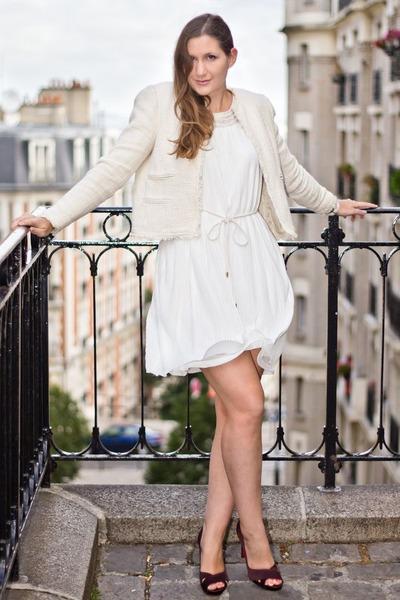 white H&M dress - white Mango jacket - dark brown Christian Louboutin heels