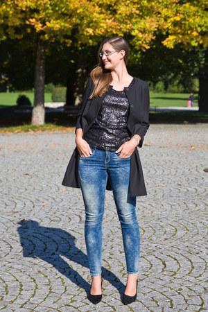 black Hallhuber coat - blue gang fashion jeans