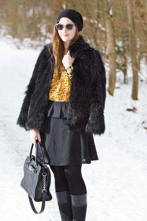 black asos coat - black Michael Kors bag - silver Miu Miu sunglasses