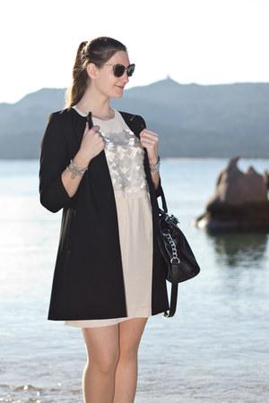black Hallhuber coat - beige anaalcazar dress - black Miu Miu sunglasses
