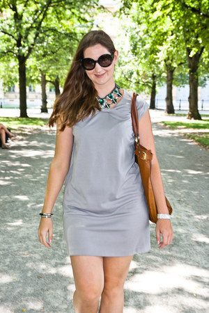forest green Zara necklace - silver Zara dress - black Prada sunglasses