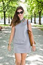 forest green Zara necklace - silver Zara dress - black Prada sunglasses