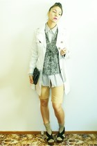 beige trench coat Dotti coat - beige gingham Glassons shirt - camel suede vintag