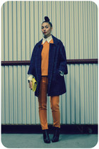 navy hatch wool Karen Walker coat - black stud back kate sylvester boots