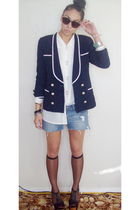 blue thrifted blazer - white thrifted blouse - blue jeanswest shorts - black Sup
