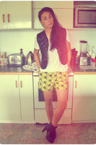 yellow on acid cotton FW shorts - black kate sylvester boots