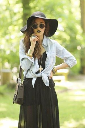 denim Sheinside shirt - leopard print Sheinside bag - suede OASAP heels