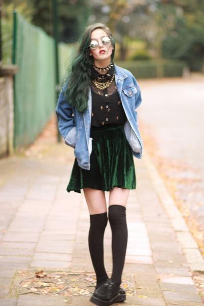 dark green diy velvet made by me skirt - creeper Sheinside shoes