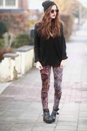 knitted The Editors Market sweater - paisley print Sheinside leggings