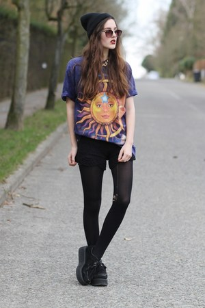 sun print GIGIVINTAGECOUK t-shirt - crochet chicwishcom shorts