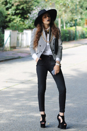 checkered print Zara blazer - concave heel SheLikes shoes - clutch Chicwish bag
