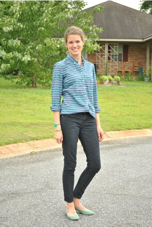 turquoise blue Gap blouse - black Forever 21 jeans - teal Lucky Brand flats