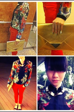 floral Zara shirt - gold clutch H&M bag - red Zara pants - f21 necklace