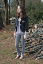 gray American Eagle blazer - gray Hollister Co jeans - pink I heart ronson top -