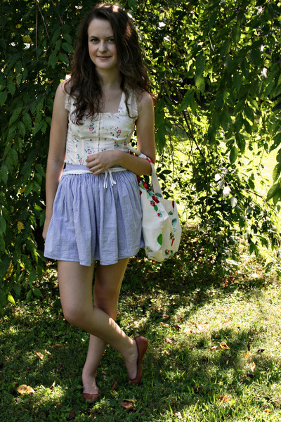 white DIY bag - brown leather Lands End flats - white braided American Apparel b